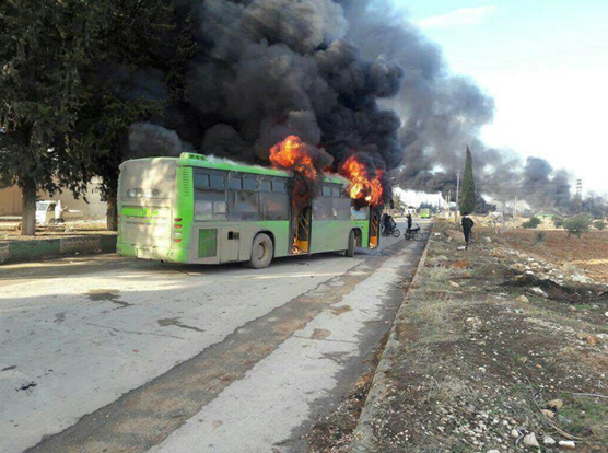 Up in smoke: Unidentified assailants attack buses in Idlib, endangering Aleppo evacuation