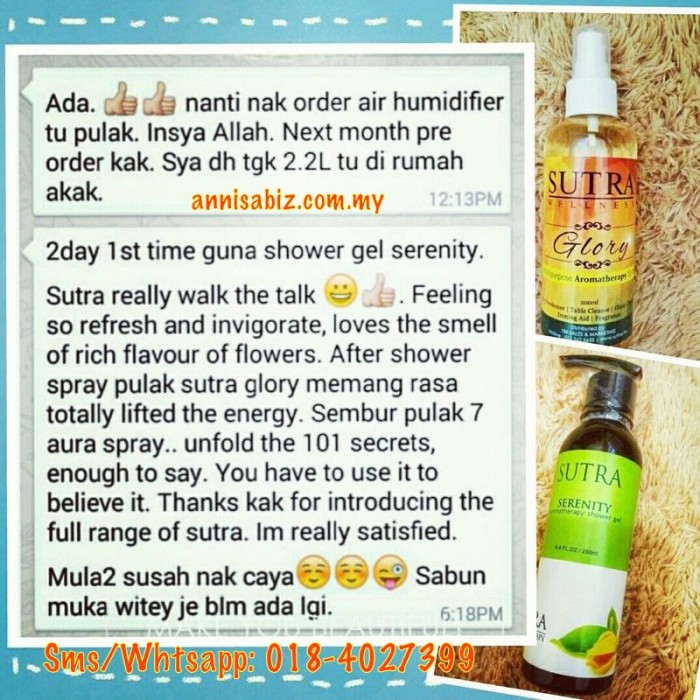 testimoni sutra shower gel