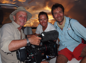 Sam Purkis (right) with Alex Dempsey, Coral Reef Ecologist with the Living Oceans Foundation (LOF) (center) and cameraman Doug Allen (left) filming in Peros Banhos Lagoon, Chagos, 2015