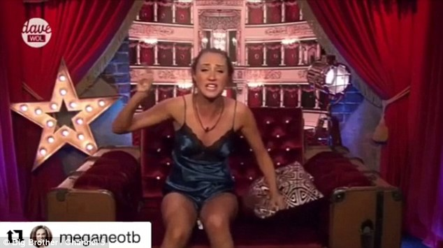 Raging: The 24-year-old beauty recently 're-grammed' three videos chronicling her rage row in Celebrity Big Brother