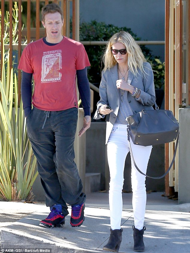 Hollywood bound: Gwyneth Paltrow and husband Chris Martin recently moved to Los Angeles. They are seen here in Santa Monica in October 2012