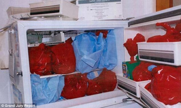 Unfathomable: A grand jury photograph shows what police say are plastic bags hiding body parts in a refrigerator inside the Philadelphia practice