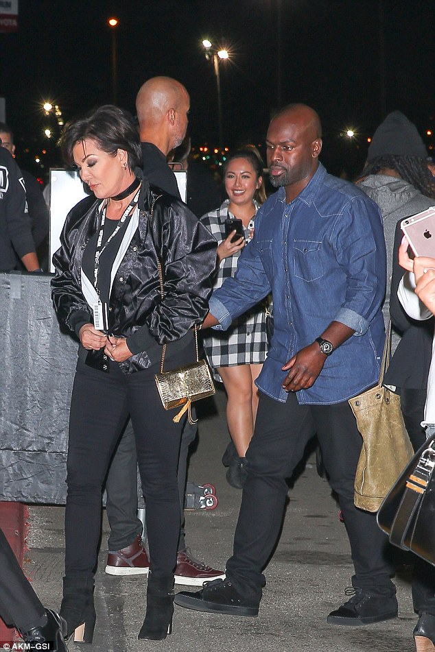 The momager: Kris Jenner showed up to the concert with beau Corey Gamble