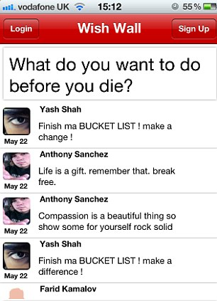 Virtual bucket lists: Users are posting touching thoughts about their final days
