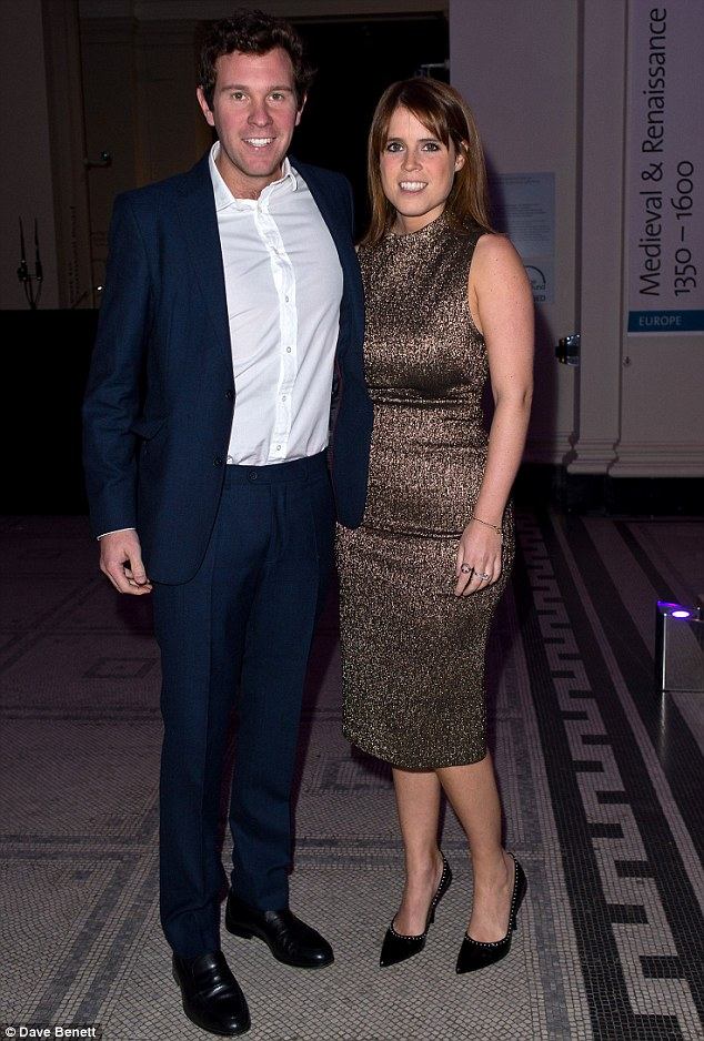 The rumours surfaced after Eugenie, 26, took nightclub manager Mr Brooksbank, 29, to Balmoral to meet her grandmother (the pair are pictured together atthe opening night of 'Conservation Couture: The Animal Ball Collection' in aid of Elephant Family and supported by Swarovski at The V&A on Tuesday)