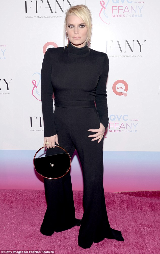 For a good cause: The night before Jessica had sported an all-black jumpsuit as she arrived for the FFANY Shoes on Sale charity event