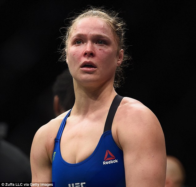 Disappointment: The evening was no doubt overshadowed by the film's subject Ronda Rousey losing in just 48 seconds to Brazilian Amanda Nunes in a UFC championship bout in Las Vegas Friday night