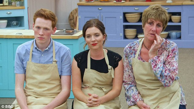 Andrew, Candice and Jane look anxious as the judges decide on whose dish was the best