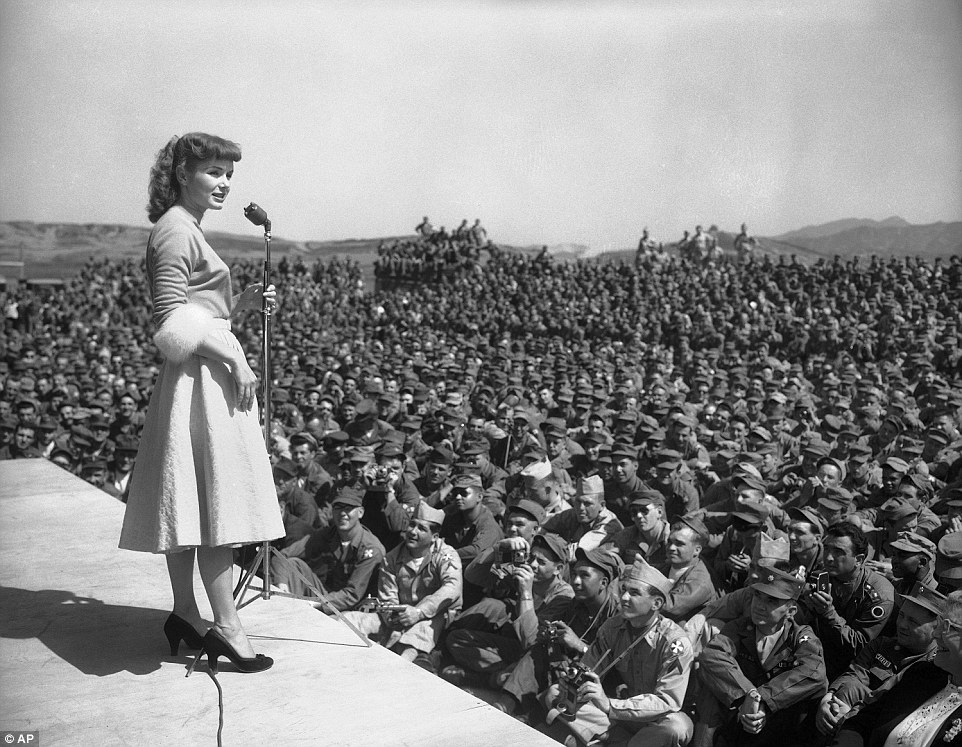 As a huge Hollywood A-lister, Reynolds flew out to entertain the troop at the 8th Army headquarters in Seoul, South Korea in May 1955