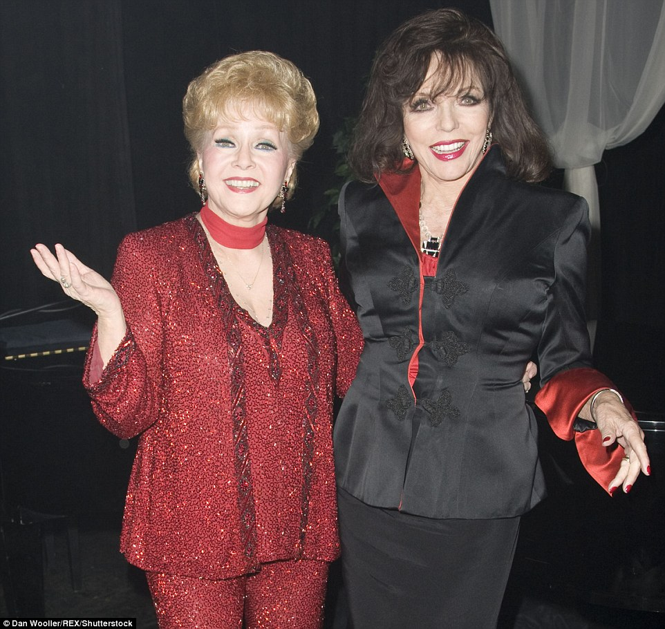 Debbie Reynolds and Joan Collins made a glamorous pair as they attended the 'Debbie Reynolds Alive and Fabulous' press night at the Apollo Theatre, London, in 2010