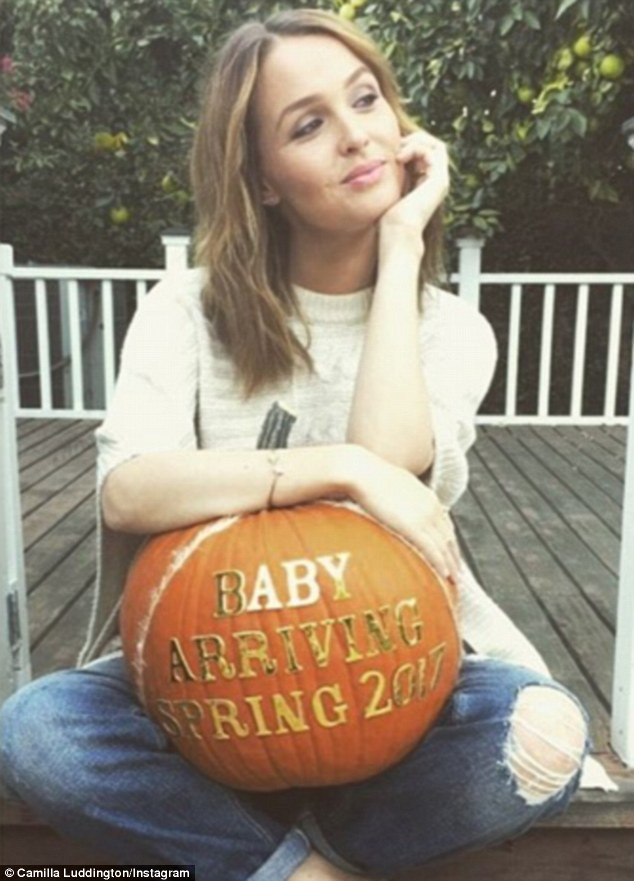 Expecting: Grey's Anatomy star Camilla Luddington announced she was pregnant in a cute Halloween Instagramsnap on Wednesday