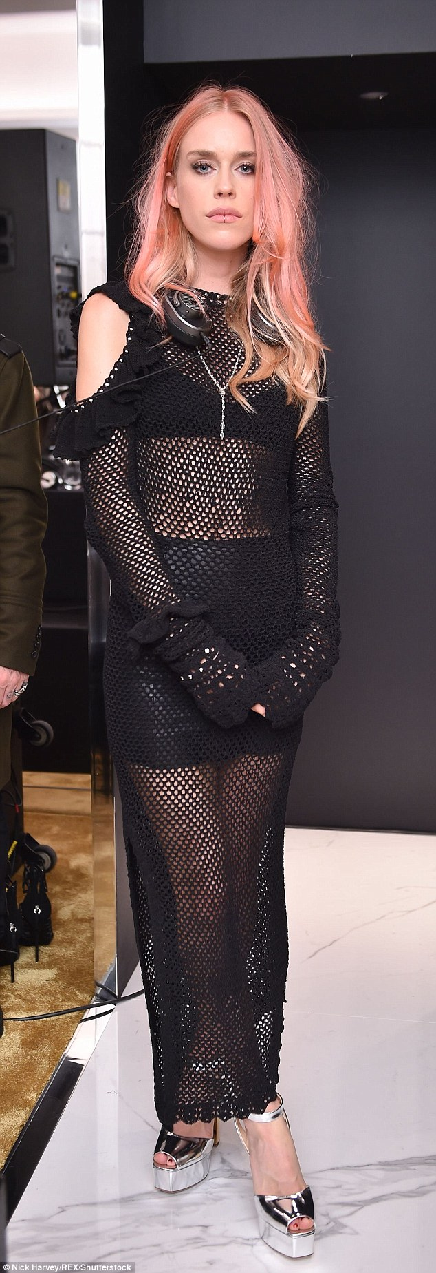 Sheer delight: Mary looked sensational in a mesh dress which showed off her underwear