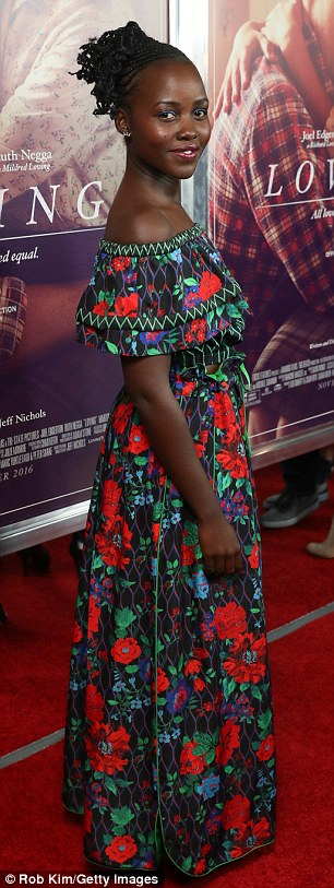 Duro Olowu design?Stylist Micaela Erlanger dressed the 32-year-old Oscar winner in a trendy off-the-shoulder, floral flounce frock