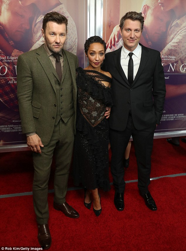 Loving it! Also at the Landmark Sunshine Theater was Loving filmmaker Jeff Nichols (R) posing with his leading man and lady, Joel Edgerton (L) and Ruth Negga (M)