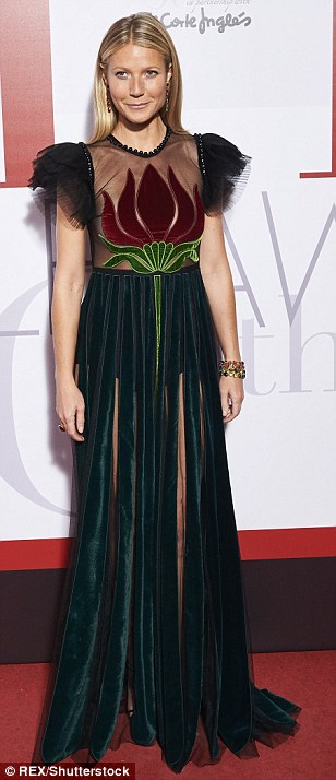 Ravishing: The American actress, 44, stole the show in an intricately designed Gucci dress featuring a sheer chest panel embellished with a large, modesty protecting floral design