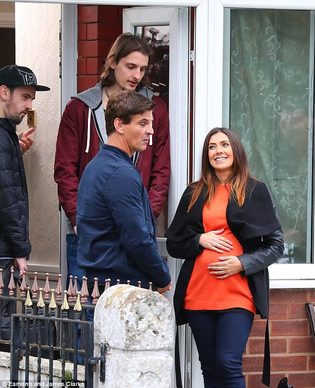 Baby bump:The stunning star appeared to run into trouble when she was seen wincing and doubled over in pain while clutching her bump