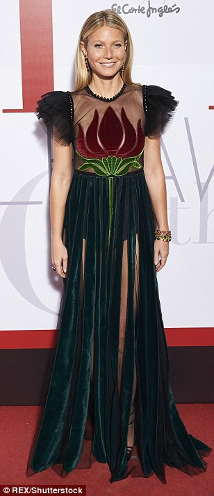Leading the way: Her unquestionable sense of style has all too often equalled what has been a hugely successful film career, and so it proved on Wednesday evening as Gwyneth Paltrow outshone her rivals with another dazzling red carpet display at an Elle magazine party in Madrid, Spain