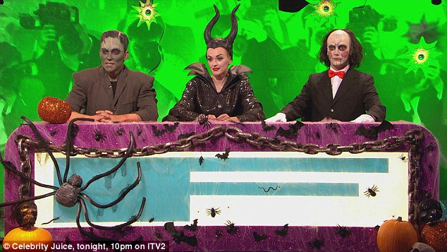 Dressed in character:The special episode also sees fellow panelist Fearne Cotton dress as Disney witch Maleficent (C), while guests Ben Shepherd (L) and Gino D'Acampo (R) got into their respective characters as  fictional monster Frankenstein and screen villain Jigsaw