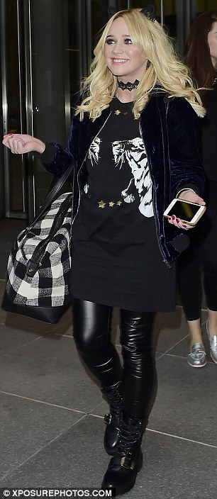 Spooky theme! Anna and co-star Kirsty-Leigh Porter sported black leather trousers and cat's ears in a nod to Halloween