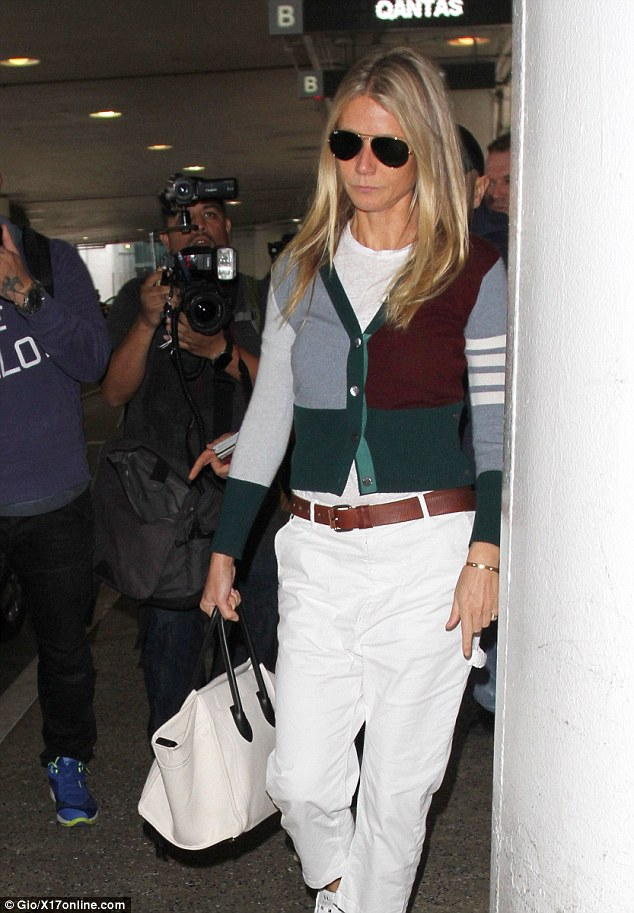 Outfit inspiration: Arriving back from Spain, the GOOP creator wore a look perfect for both the school run and lunch with the girls