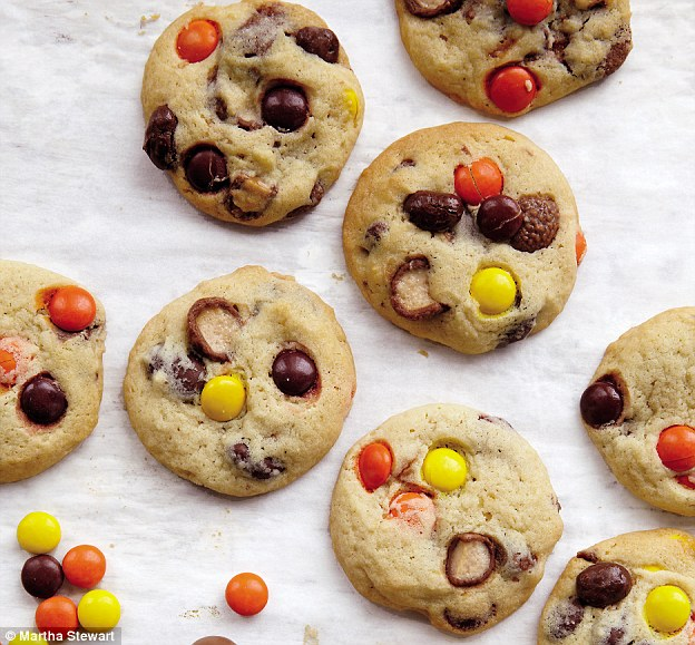 Using it all up: Ditch semi-sweet chocolate chips in favor of chopped-up leftover candy to fill your cookies with this Halloween