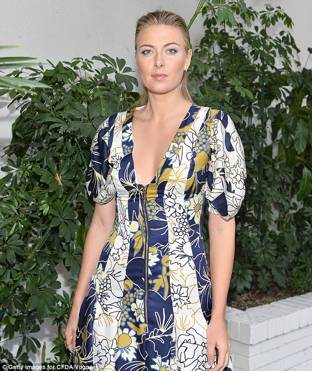 Stunner: Tennis ace Maria Sharapova ensured she looked her very best as she arrived at the star-studded CFDA/Vogue Fashion Fund at the Chateau Marmont hotel in Los Angeles on Wednesday