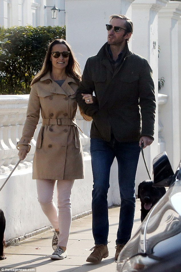 The Duchess of Cambridge's younger sister Pippa took time out to enjoy a sunny dog walk with her fiance James, as the couple plan their 2017 wedding