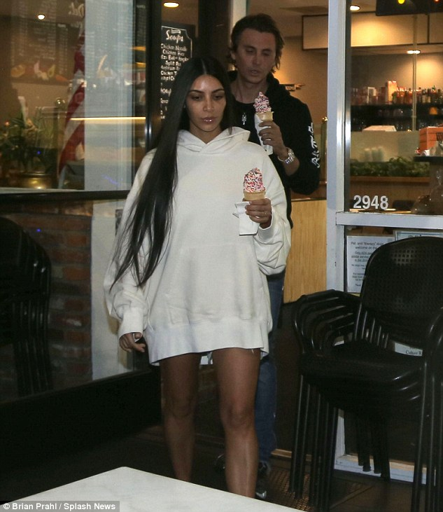 New look: The 36-year-old star has been dressing down like she did here on Monday when she went out for frozen yogurt with Jonathan  at the Beverly Glen Deli in Beverly Hills