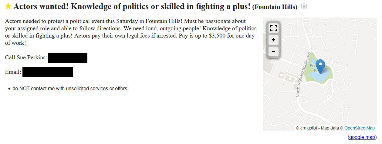 Craigslist ad for Donald Trump protesters