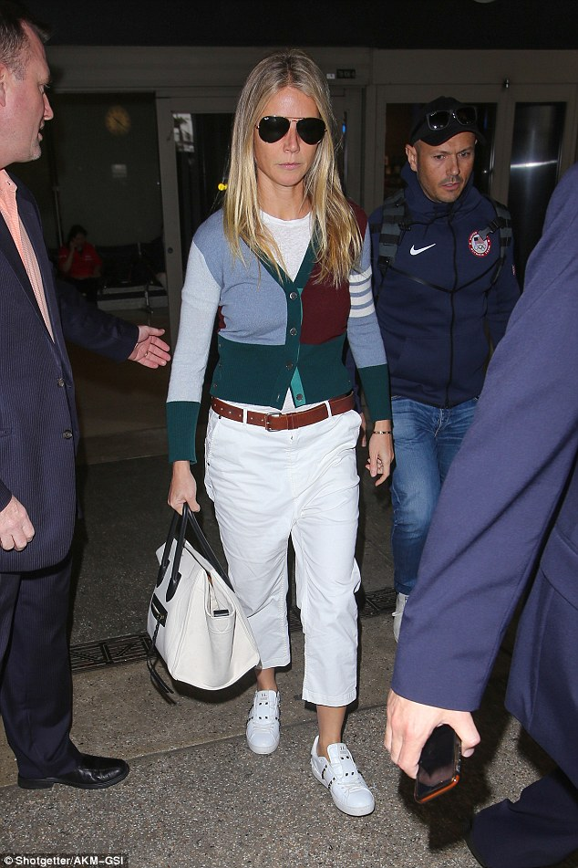 Home again: Gwyneth Paltrow touched down in Los Angeles, California, on Thursday