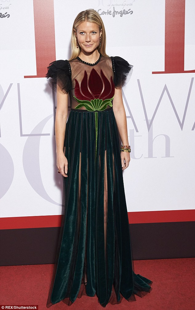 High glamour: The night before the star wowed in Gucci at the Elle Spain Style Awards in Madrid, Spain