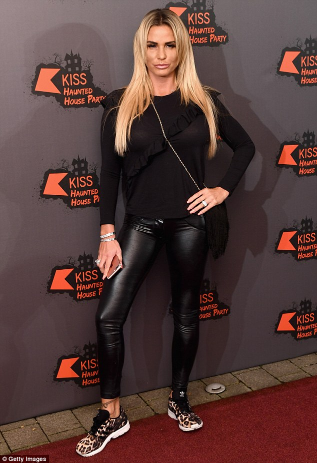 Night out: Katie Price made an appearance at aa Halloween themed haunted house party hosted by KISS FM at SSE Arena in north London on Thursday evening