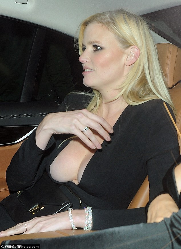 Busty: Lara went braless in her very low-cut dress, which boasted an extreme plunging neckline