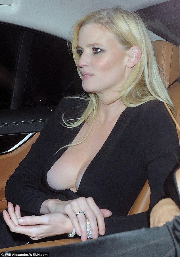 Seriously risque:Lara Stone, 32, opted for a rather risque number to attend Edward Enninful's VIP dinner in Mark's Club, Mayfair on Thursday night, donning a perilously plunging dress