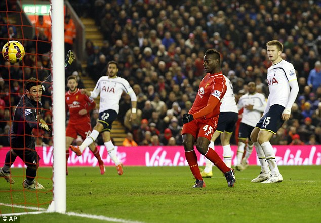 Balotelli scores his one and only Premier League goal so far, the winner against Tottenham at Anfield