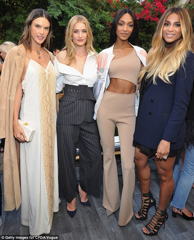 The power team: The supermodel's fellow Victoria's Secret models Alessandra Ambrosio and Jourdan Dunn also came out, as well as Ciara, who announced on Instagram on Tuesday that she is pregnant with her second child