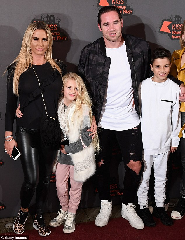 Quality time: Katie Price was joined by husband Kieran Hayler and Junior Savva and nine-year old Princess Tiami – Katie's children with former husband Peter Andre – for a Halloween themed haunted house party at the sprawling venue, hosted by KISS FMher two children with ex Peter Andre