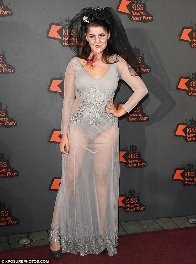 Breezy does it: Finnish X Factor star Saara Aalto sported a sheer dress for her appearance at the Halloween bash