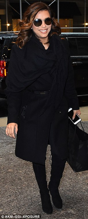 The woman in black is back:  Eva was later seen arriving at her New York hotel, still sporting her elegant dark ensemble