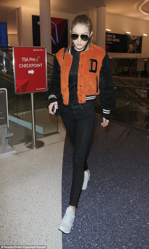 Touch down:Gigi Hadid was not about to let a red eye flight slow her down with the star looking stylish as she landed in Los Angeles on Friday morning