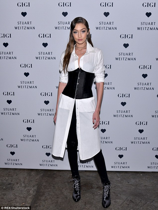 Stepping up: The model was in New York to celebrate the launch of her new boot style withStuart Weitzman