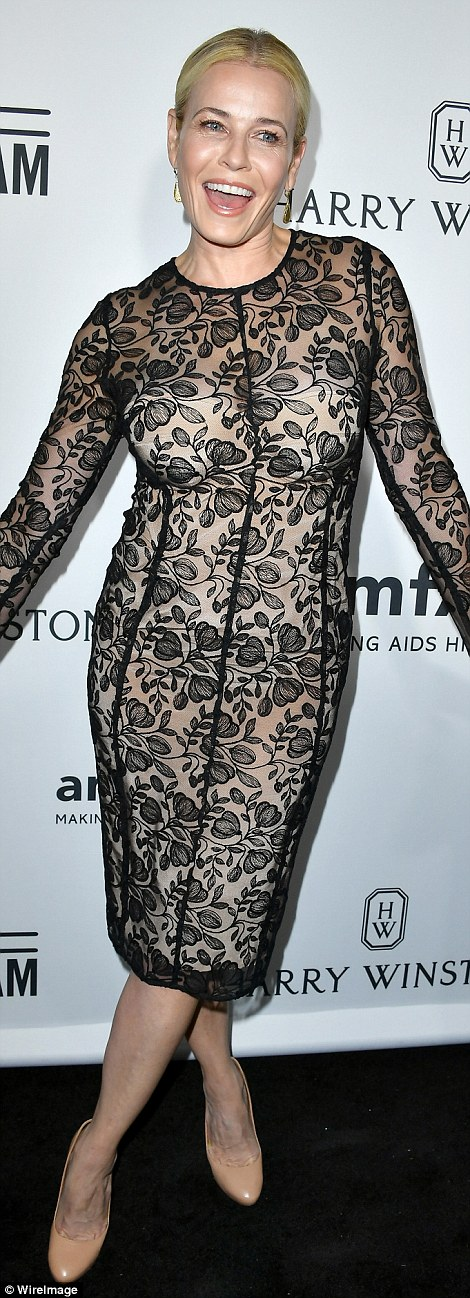 Catching the eye! Chelsea Handler wore a black lace number with a nude slip, while Victoria Justice sported a see-through white frock