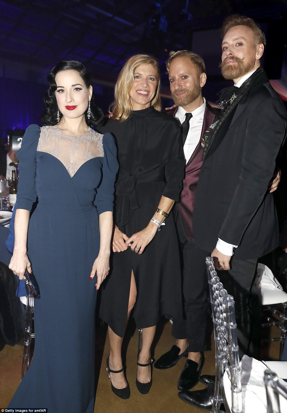 Looking sensational: Dita stood out in her beautiful dress as she caught up with fellow guests