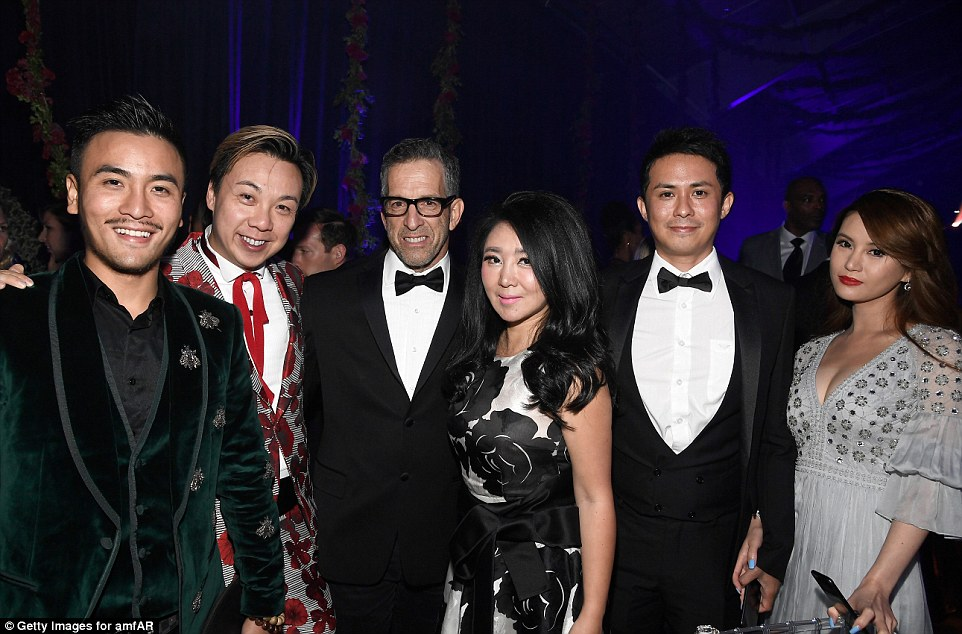 Party people: Businessman Francis Cheng, Board Chairman, amfAR Kenneth Cole, Maggie Xiaman, James Shing and Michaelle Chua enjoyed the bash