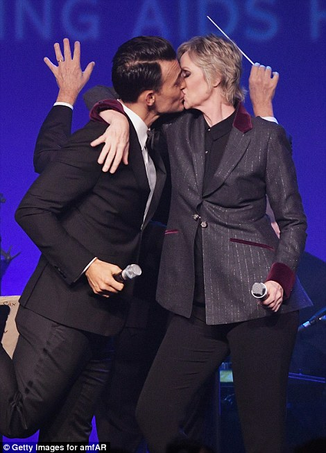 Getting tongues wagging! Lynch and Jackson locked lips during their performance