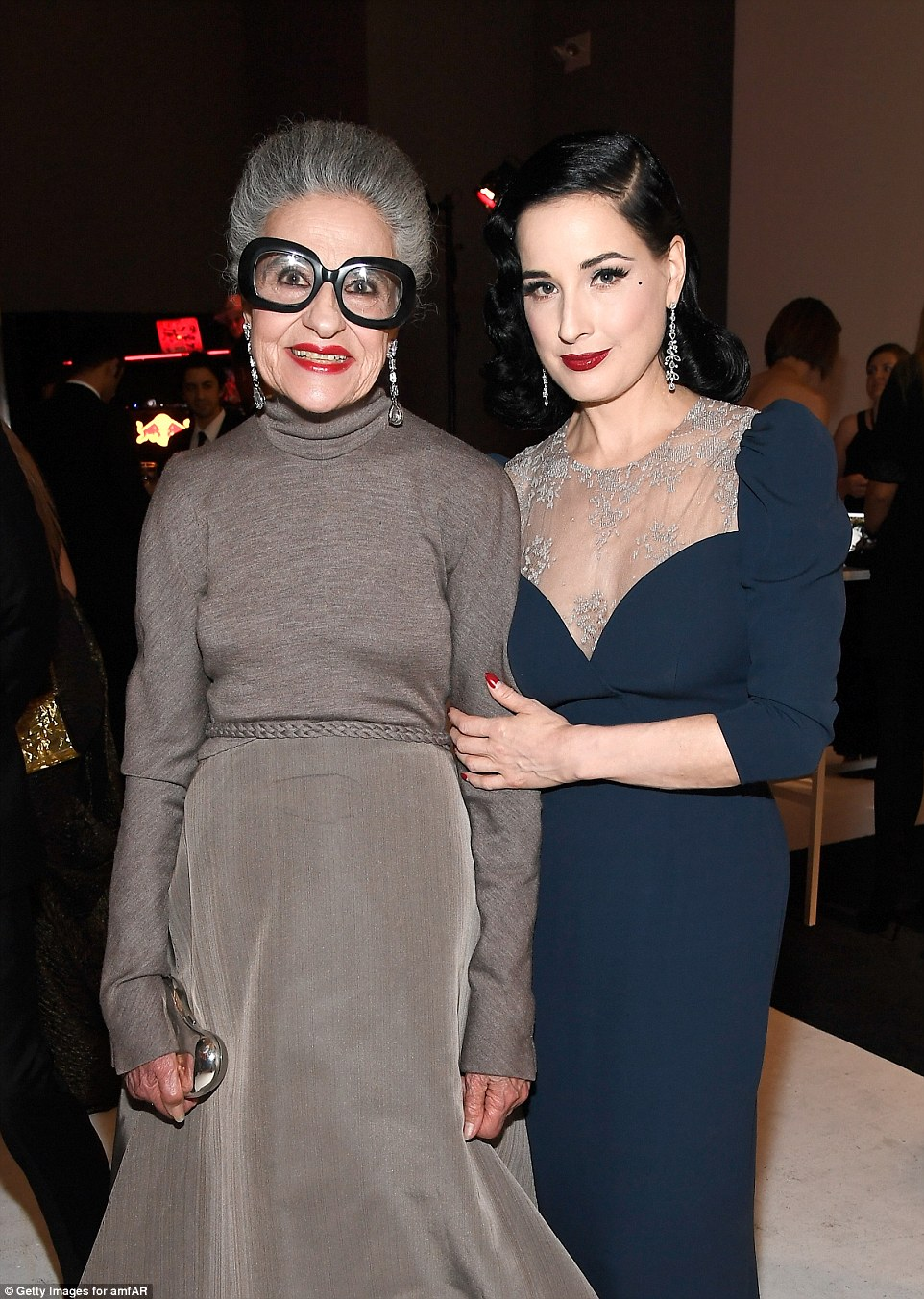 Big night out:Iris Apfel wore a chic turtleneck dress while catching up with Dita