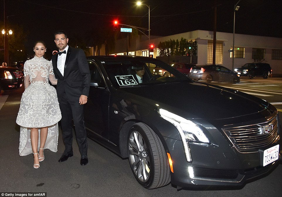 Making their entrance: Cara and Jesse stood out as they pulled up at the ultra lavish event