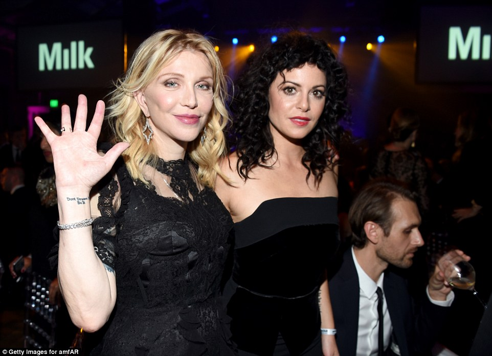Doing their bit:Courtney Love (L) and businesswoman/blogger Sophia Amoruso enjoyed the night's events