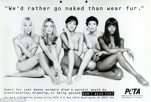 Remember this?Back in 1994, Naomi was one of several high profile models to star in PETA's now iconic 'We'd rather go naked than wear fur' campaign, posing nude