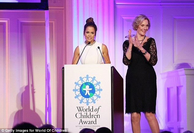 Taking a stand:Brooke Burke took to the stage alongside World of Children Award Co-Founder and 2016 Alumni Honors Co-Chair Kay Isaacson-Leibowitz